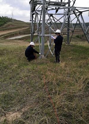 我公司为某单位输电线路杆塔做雷电防护装置检测工作